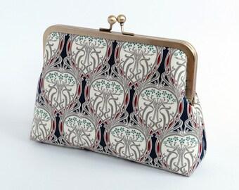 Free Chain, Art Nouveau, Ikat, Cosmetic bag, Makeup bag, Geometric clutch, Party clutch, Formal purse, Bridesmaids gift,