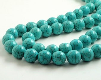 "Turquoise Beads - Howlite Gemstone Round Beads - Blue with Brown Matrix - X Large Round Ball Beads - 15mm - 16"" Strand - Diy Jewelry Making"
