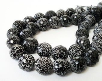 """Black Round Agate Beads - Frosted Agate Gemstone - Dragon Crackle Vein Beads - Snake Skin - 7mm - 16"""" Strand - Jewelry Making - Bulk Beads"""