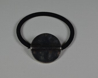 Large, round, silver coin bead, ponytail holder