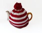 tea cozy cosie redand white stripe  with pom pom
