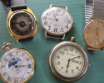WATCH Lot POCKET Men's Repair Parts Craft altered art Steampunk vintage jewelry (MD6)