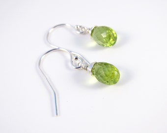 Sterling Silver Peridot Earrings, Sterling Silver Peridot Dangle Earrings, August Birthstone Earrings, Green Earrings, Valentine's Day Gift