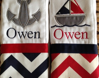 Set of 2 personalized custom monogrammed burp cloths red navy chevron sail boat and anchor
