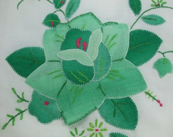 Vintage Bright Green and White flora  Placemats and matching napkin set of 4