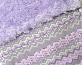 Baby Girl Blanket ~ HOLIDAY SALE ~ 20% DISCOUNT ~ Cotton and Minky Blanket ~ Purple and Gray Baby Blanket ~24 X 35 inches ~ Stroller Blanket