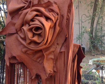 showdiva designs Saddlebag Purse Handbag Dripping with Fringe and Hand Sculpted Roses