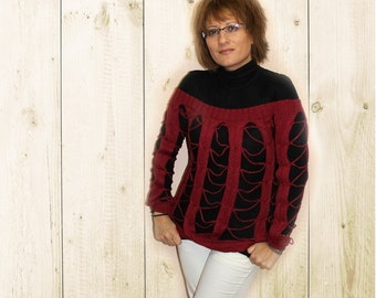 Red Boho Sweater, Knitted Boho Sweater, Holes Sweater