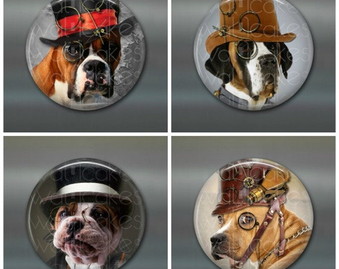 "3.5"" steampunk dog magnets, steam punk decor, large fridge magnets, big magnets set of magnets, kitchen decor"