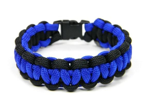 Law Enforcement Police Paracord Bracelet Electric Blue