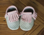 Leather Baby Moccasin // Tan Polka Dot + Pink Double Fringe