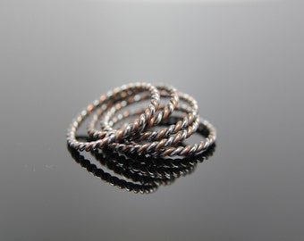 One Mixed Twist Band in Sterling Silver and Copper. Stacking Rings.