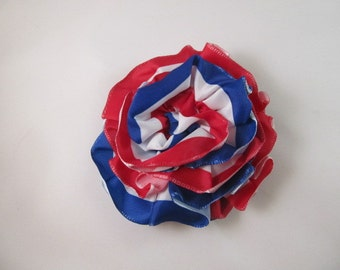 Ribbon Rose Pin-Hair Clip-Brooch-Red, White and Blue-4th of July-July 4th-USA-Troop Support