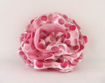 Ribbon Rose Pin-Hair Clip-Brooch-Satin-Pink-Polka Dot-Pink and White