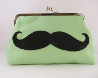 Green Mustache Clutch-Clutch-Purse-Handbag-Kisslock-8 inch