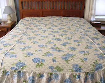 Vintage Twin Bedspread Floral, Rose Print, blue, cotton plisse, lightweight, summer spread
