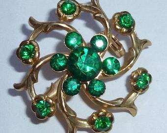 Vintage Emerald Green Rhinestone Spiral Pin