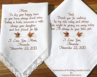 Fall Wedding, Gift, Embroidered Wedding Hankerchiefs Gift Mother & Father of the Bride, Fall Wedding Gift Wedding Gifts by Canyon Embroidery