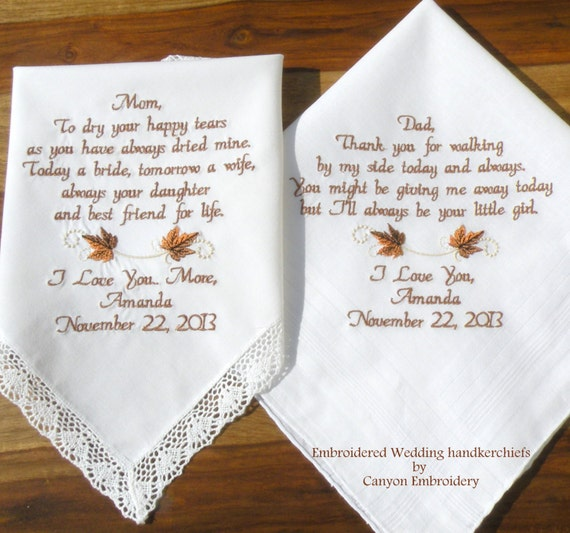 Wedding Gift Ideas Embroidered : Fall Wedding, Gift, Embroidered Wedding Hankerchiefs Gift Mother ...
