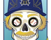1980's Seattle Mariners Sugar Skull Print 11x14 print