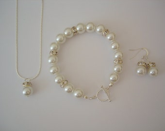Set of 2 Glamour Luxury Pearl Necklace, Earrings and Bracelet Sets - Wedding Bridal, Bridesmaids Jewelry