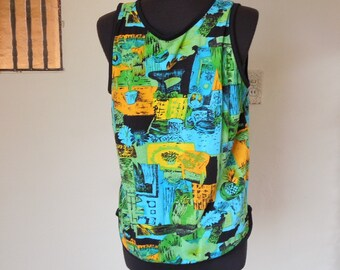 Vintage 80's Tank Top, Bright Abstract Print, Black Turquoise Green and Yellow, Size Small to Medium, Bust 37