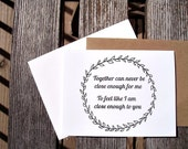 Valentine Card - Romantic Anniversary Card, Laurel Wreath, Train Song Lyrics, Engagement, Together Can Never Be Close Enough, Black & White