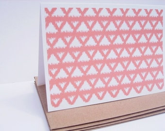 Geometric Note Cards - Dark Peach Modern Stationery, Triangles Ikat Design, Geometric Thank You Notes, Apricot Coral Peach Salmon Card Set