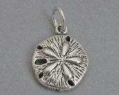 Sterling Silver 925 Charm Pendant SAND DOLLAR Nautical Ocean Beach BR617