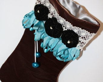 Velvet Stocking with Ribbon and Flower Accents