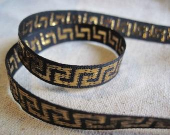 GREEK KEY gold on black jacquard small ribbon
