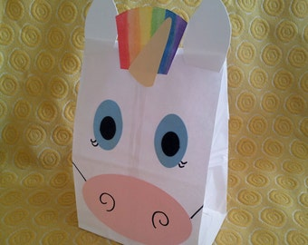 Unicorn Treat Sacks - Rainbow Fairy Tale Theme Birthday Party Favor Goody Bags by jettabees on Etsy