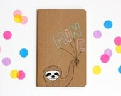 Sloth Notebook, Colorful Pastel Pocket Journal, Mini Notebook, Blank Book, Illustration, Diary, OOAK