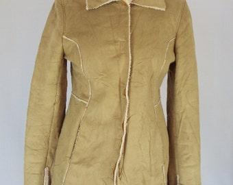 SUEDE coat / vintage 1990s fur coat /suede and fur 90s coat