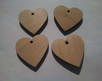 Unfinished Wooden Earrings/Pendants/Beads (2 Pairs)