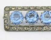 vintage brooch - light sapphire blue and crystal - Edwardian