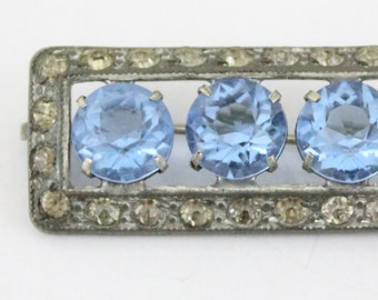 vintage brooch - light sapphire blue and crystal - Edwardian