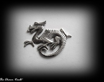 CLOSEOUT SALE 1 Silver Ox Chinese Right Dragon Gothic Steam Punk Pendants Raw Brass Charms Stamping Jewelry Findings (A-151)