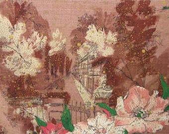 BARKCLOTH with STREET SCENE and Pink Flowers, 8 yards of Tower Prints, Vintage Fabric, Yardage