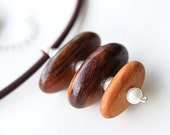 Wood Necklace. Pearls and Natural Wood Necklace. Sterling Silver Wood and Freshwater Pearls Pendant on Brown Cord, OOAK, Unique Gift