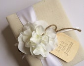 Classic Personalized Wedding Album - White Hydrangeas, Rustic White Ribbon and Rope Bow - Hand Stamped Bride and Groom Names