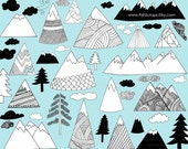 Hand Drawn Mountain Clip Art, Nature Outdoor Adventure Digital Stamps, Pine Tree & Clouds ClipArt, Scrapbook PNG + Brush, Photoshop Overlays
