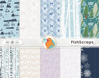 Woodland Winter Digital Paper - Christmas Backgrounds - Mountains - Forest - Deers - Snow Flakes - Birch Trees - Blue & Purple