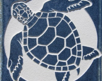4x4 Green Sea Turtle - Etched Porcelain Tile - Coaster - SRA