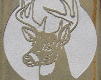 4x4 White Tail Deer - Etched Porcelain Tile - SRA