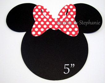 """Minnie Mouse Head Die Cuts with Bow of your choice - Set of 12+ - 5"""""""