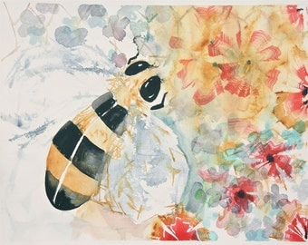 large bee painting, original watercolor painting, bee with flowers, garden, yellow, black, pink, blue