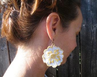 50% off this item, enter LOVE99 at checkout, Bohemian Earrings, Applique Earrings, Vintage Earrings, Flower Earrings, Earrings, Fabric