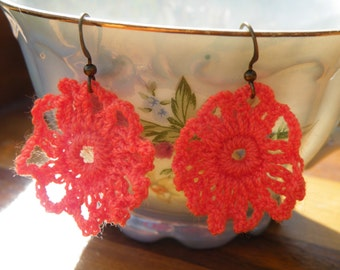 50% off this item, enter LOVE99 at checkout, Coral Crocheted Bohemian Earrings Coral Earrings, Lace Earrings, Floral Earrings