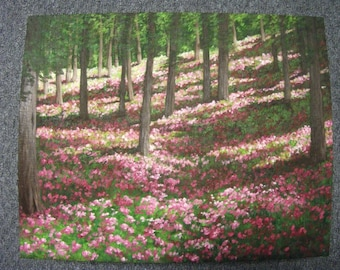 Spring Flowers In The Woods, Trees, Field, Summer, Green Leaves, Sunlight, Original Landscape Oil Painting